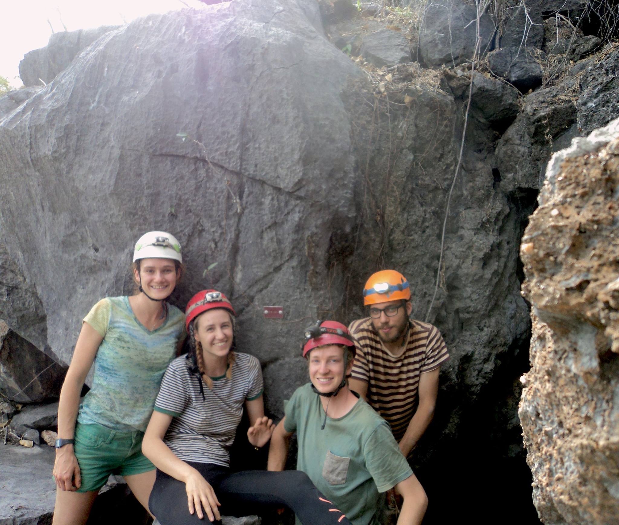 All of us extremely excited of our discovery of a new connection between cave systems. (Standing at the mouth of CH)