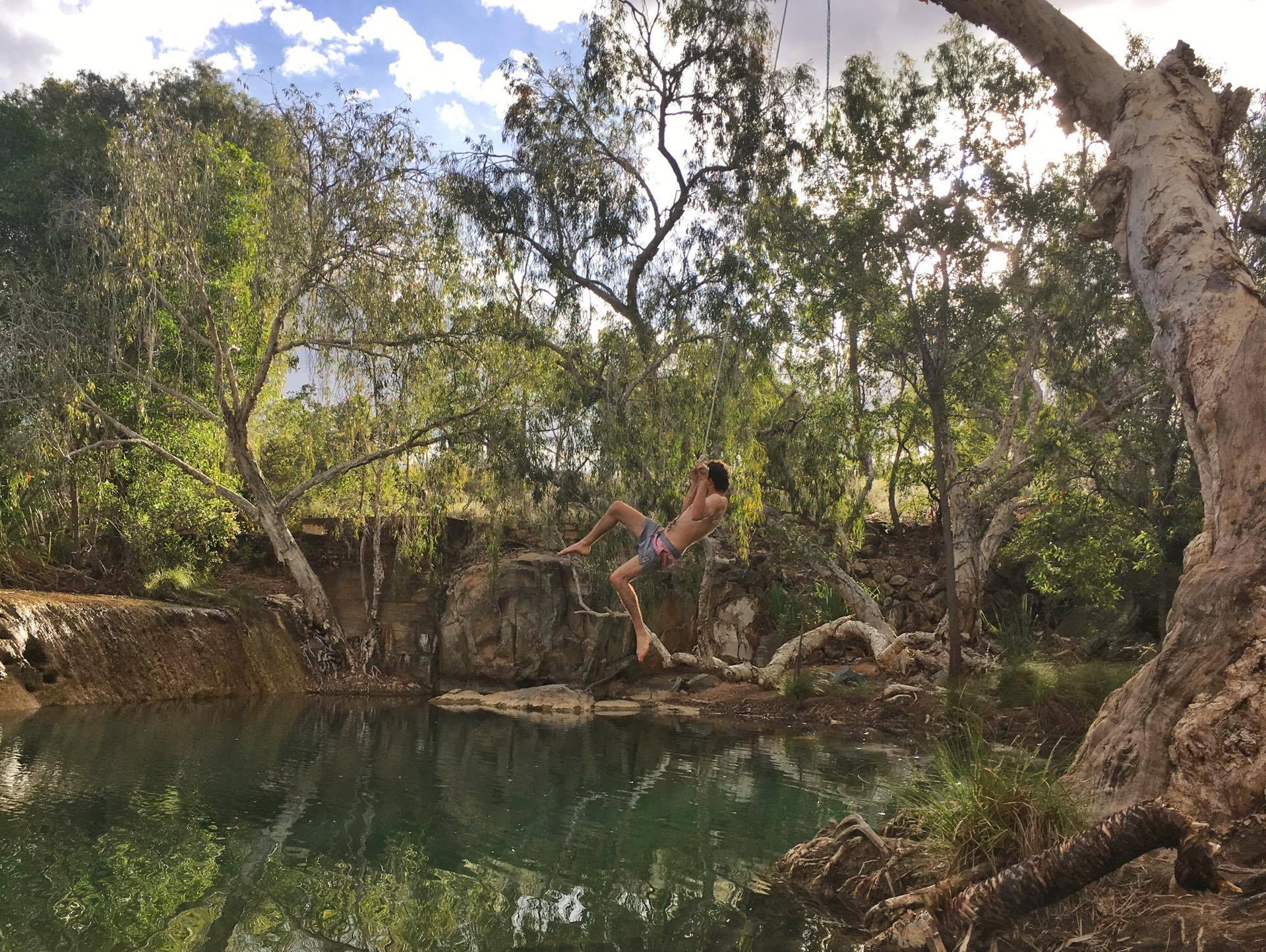 Rope swing at Chillagoe Weir