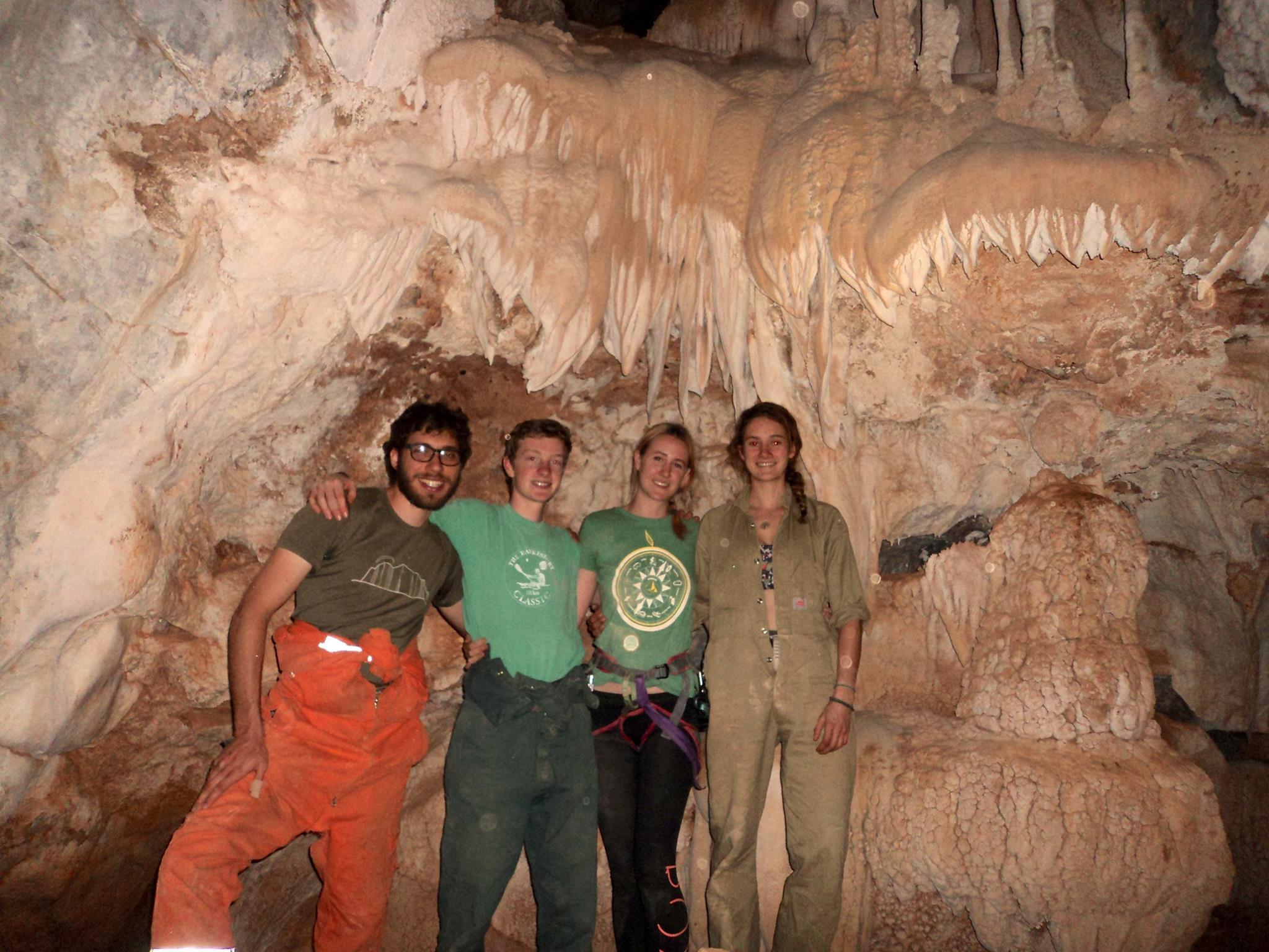 Attempting a group shot in Crocodile Pot only to realise how difficult it is to capture the beauty of a cave in a photo.